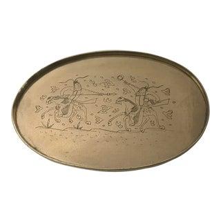 Engraved Brass Asian Artisan Tray