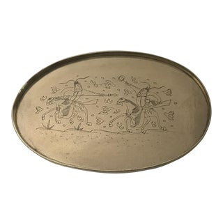 Rare Vintage Artisan Engraved Brass Tray - Asian Warriors For Sale