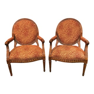 Leopard Print Side Chairs With Wood Harp Back Detail - a Pair For Sale