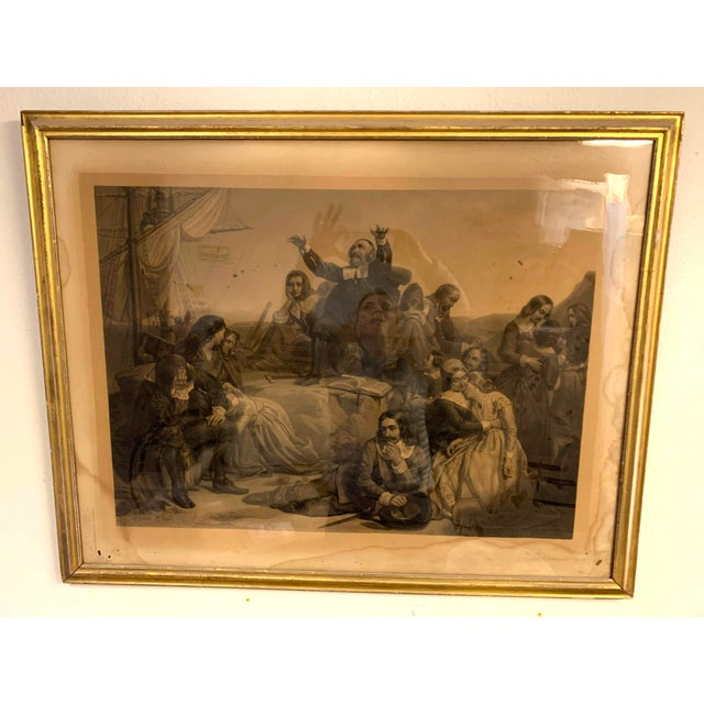 French Antique French Lithograph in Gold Leaf Frame For Sale - Image 3 of 13