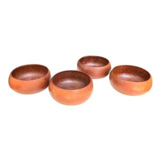 Vintage 1960s Carved Wooden Bowls - Set of 4 For Sale