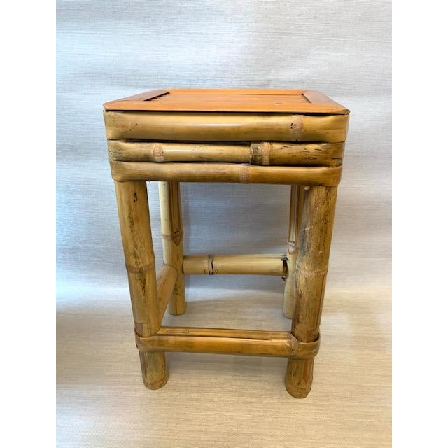 Real bamboo plant stand or drinks table. Great size!