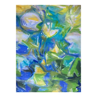 "Large Abstract Oil Painting by Trixie Pitts ""Water Lilies in Blue"""