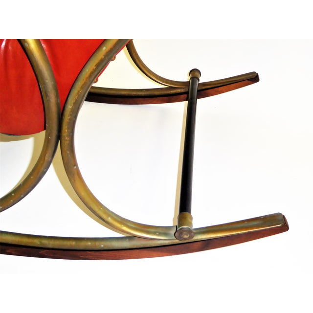 1970s Modern Woodard Sculptural Tufted Leatherette Rocking Chair For Sale - Image 9 of 12