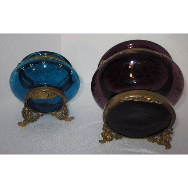 Victorian Czech Art Glass Ormolu Dresser Boxes - A Pair - Image 6 of 6