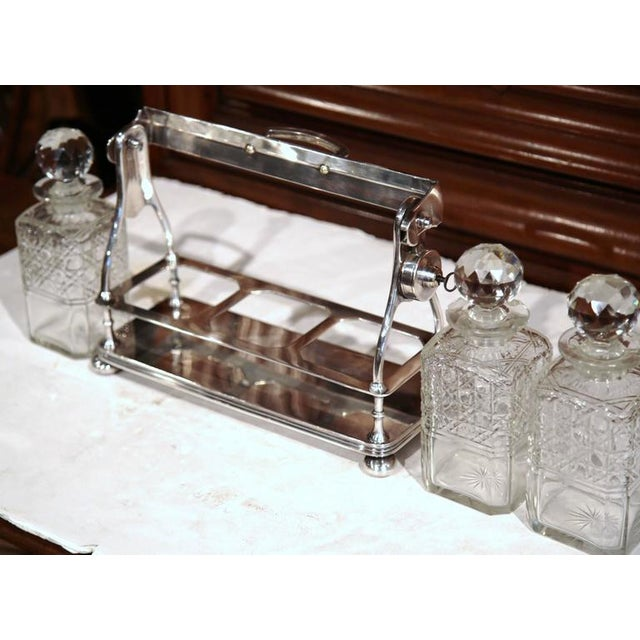 19th Century English Silver Plated 3-Carafe Tantalus With Lock Mechanism For Sale - Image 4 of 8