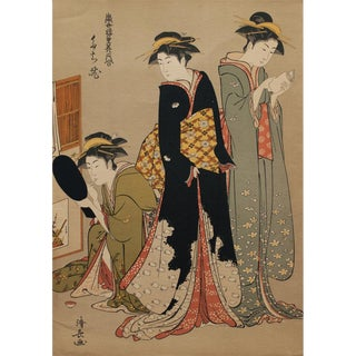 Late 19th C. Woodblock Print by Kiyonaga Torii For Sale