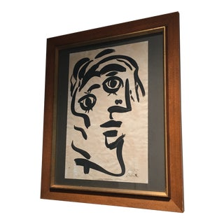 1960s Peter Keil Abstract Cubist Profile Painting For Sale