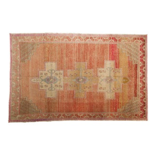 "Vintage Distressed Oushak Rug - 4'11"" X 7'8"" For Sale"