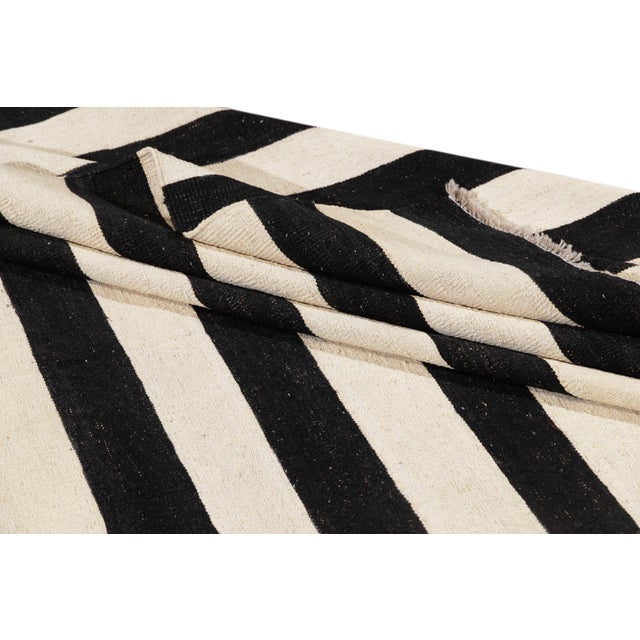 Contemporary Black and White Striped Kilim Flat-Weave Wool Rug For Sale - Image 4 of 11