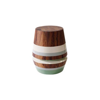 Capirucho Turned Side Table & Stool, Conacaste Wood and Lacquered Bands