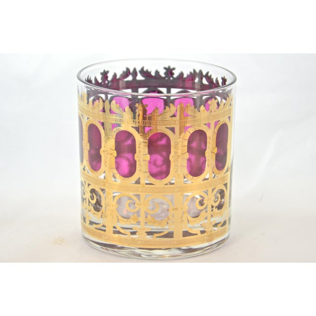 Culver 22k Gold & Violet Decanter & Glasses - Set of 6 - Image 4 of 7
