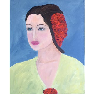 Lady in Waiting Contemporary Portrait Painting For Sale