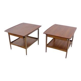 Pair of Scandinavian Modern Walnut Tables Designed by Moreddi For Sale
