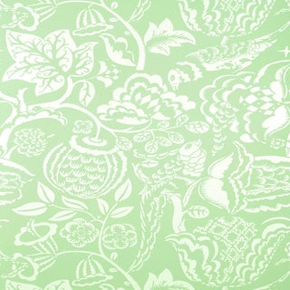 Sample - Schumacher Uccello Wallpaper in Aqua For Sale