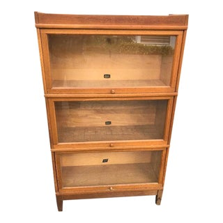 Hale Quarter Sawn Oak 3 Section Barrister Bookcase For Sale