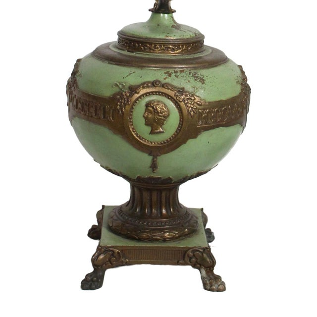1930s French Green & Gold Accent Lamp For Sale - Image 4 of 7