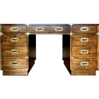 1960s Danish Modern Bernhardt Campaign Partner Desk For Sale