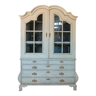 Antique White Painted Rococo Cabinet Bookcase For Sale