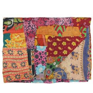 Vintage Multi-Colored Kantha Quilt For Sale