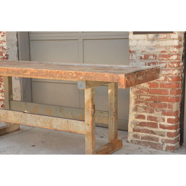 Early 20th Century Impressive Industrial Workbench With Cast Iron Vise For Sale - Image 4 of 9