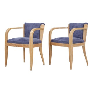 Pair of French Cerused Oak Armchairs, Circa 1940s For Sale