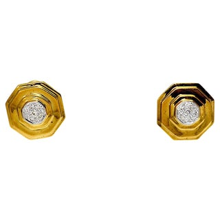 Modern Geometric 14k Gold & Diamond Earrings - a Pair For Sale