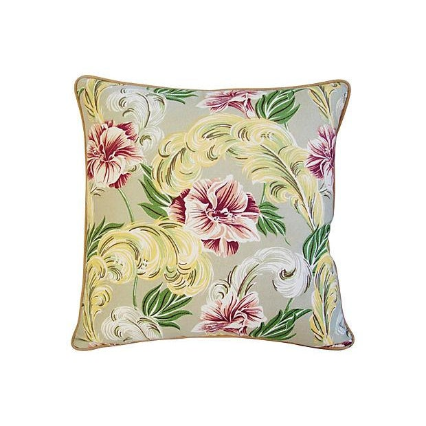 """23"""" Custom Tailored Tropical Floral Barkcloth Feather/Down Pillows - Pair - Image 2 of 7"""
