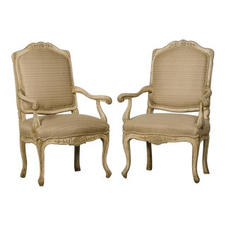 Pair of Louis XV Period Italian Armchairs, Original Painted Finish circa 1770