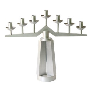 1940s Aluminum Machine Age Art Deco Candelabra For Sale