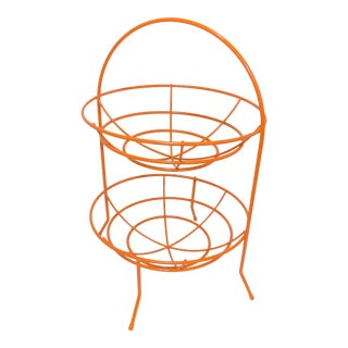 Mid-Century Orange Vintage 2 Tier Fruit or Veggie Basket For Sale