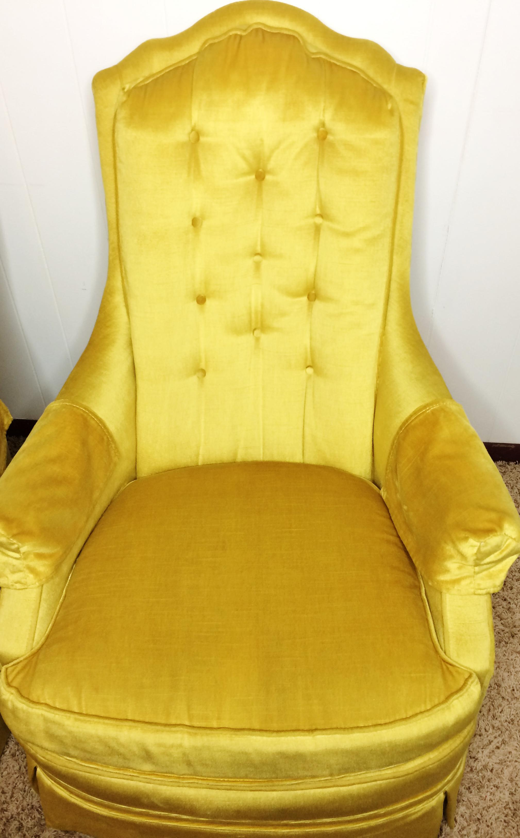 Silver Craft Mid Century Gold Velvet Chairs   A Pair   Image 4 Of 9