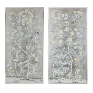 "Simon Paul Scott for Jardins en Fleur ""Gloucester"" Silver Leaf Chinoiserie Hand-Painted Silk Diptych Paintings - 2 Pieces For Sale"