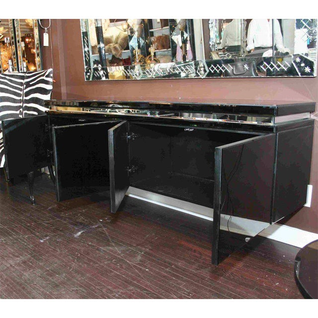 2000s Custom Black Mirrored Cantalever Credenza For Sale - Image 5 of 6