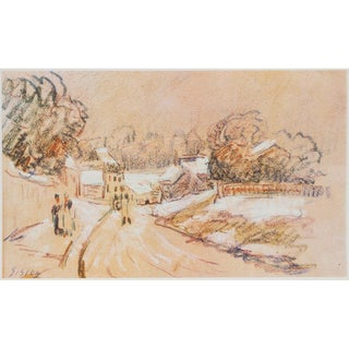 1959 Sisley, Early Snow in a French Village Print For Sale