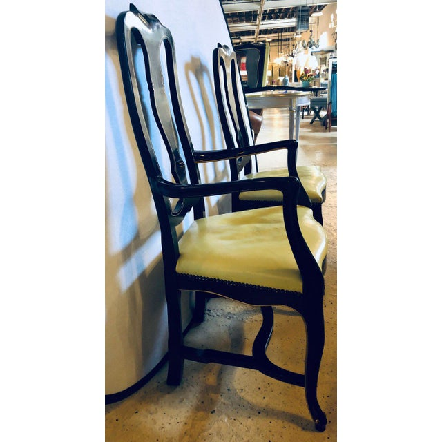 Set of Eight Queen Anne Ebonized and Gilt Decorated Dining Chairs For Sale - Image 11 of 13