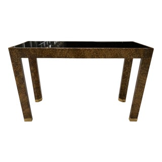 Mid-Century Modern Henredon Faux Tortoise Shell Parsons Console Table For Sale