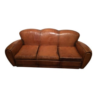 French Art Deco Leather Club Sofa With Reversible Velvet Cushions For Sale