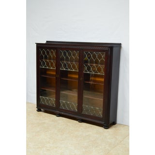Antique Solid Mahogany Leaded Glass 3 Door Bookcase Preview