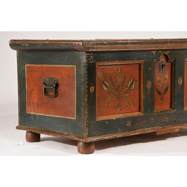 Iron 19th Century Scandinavian Polychrome Painted Trunk For Sale - Image 7 of 9