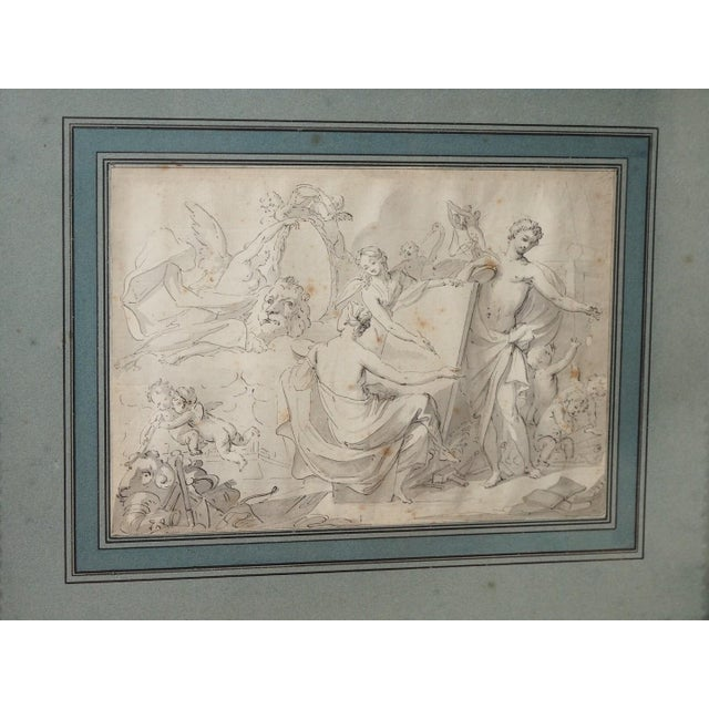 French Mid 19th Century Antique Pen & Ink Framed Drawing For Sale - Image 3 of 5
