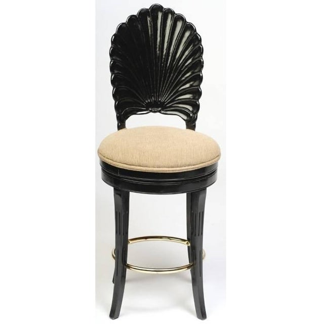 Set of Three Italian Carved Shell Back Bar Stools For Sale In Dallas - Image 6 of 10