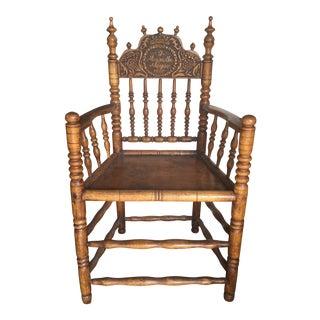 Pennsylvania Dutch Antique Carved Spool Chair, Circa 1855 For Sale