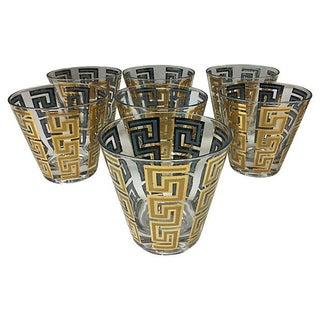 Greek Key Cocktail Glasses - Set of 7