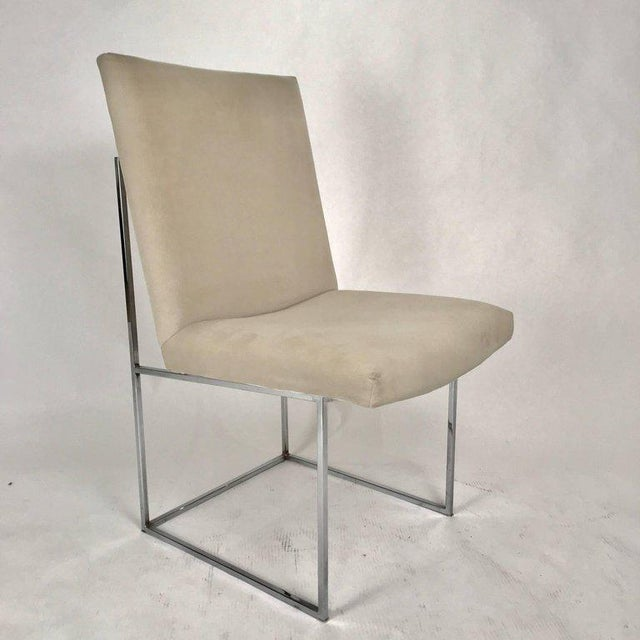 Milo Baughman for Thayer Coggin Milo Baughman for Thayer Coggin Chrome Framed Dining Chairs With Ultrasuede For Sale - Image 4 of 6