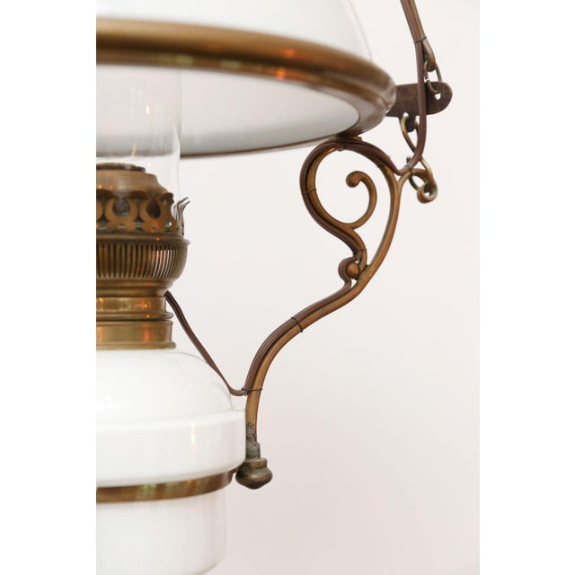 Antique French milk glass hall lantern: originally operated by oil and now newly wired for use within the USA (using all...