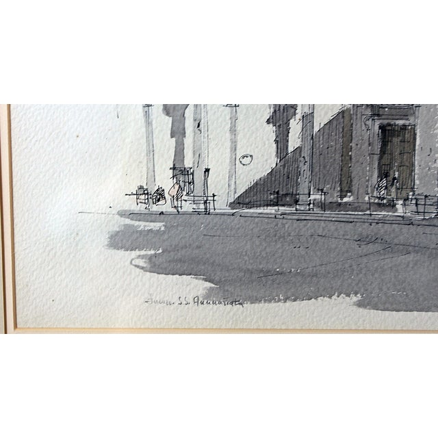Framed Pen & Ink Watercolors - a Pair - Image 5 of 8