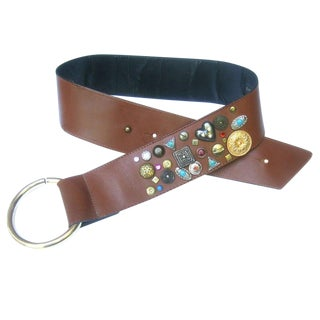Neiman Marcus Italian Jeweled Caramel Brown Leather Wide Belt C 1980s For Sale