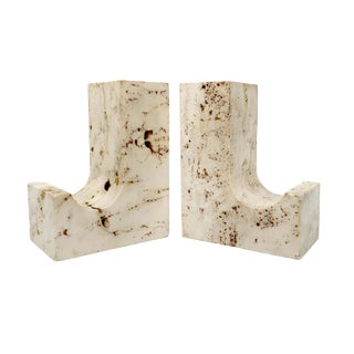 Vintage Travertine Bookends - a Pair For Sale