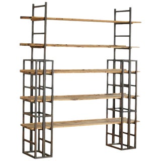 1960s Vintage Custom-Made Adjustable Industrial Style Steel and Wood Plank Etagere For Sale